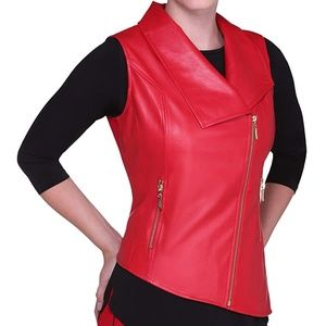 Nygard Vest LARGE Red Moto Side Zip Vegan Leather